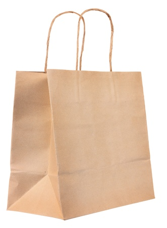 paper bag: Simple browse recycled paper bag isolated on white background