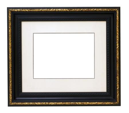 Vintage gold houten omlijsting geïsoleerd op witte achtergrond Stockfoto