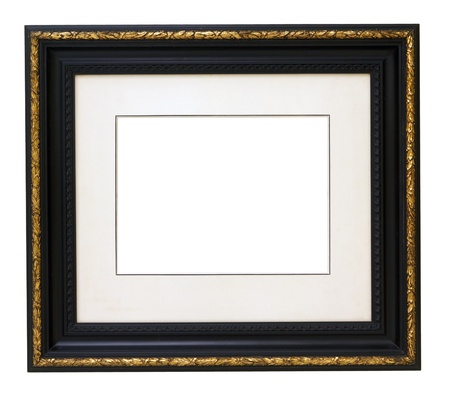 Vintage gold wooden picture frame isolated on white background  Stock Photo