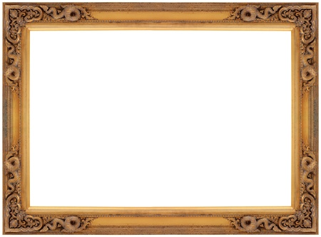 Vintage gold wooden picture frame isolated on white background  photo