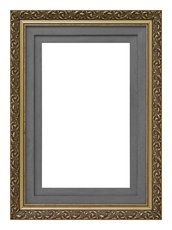 old photo border: Vintage gold wooden picture frame isolated on white background