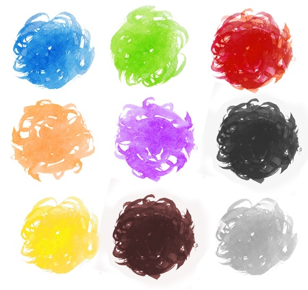 massy: Colorful watercolor painting messy circle Stock Photo
