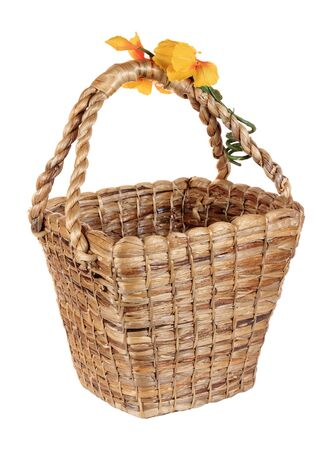 Brown wicker water hyacinth basket isolated on white background photo
