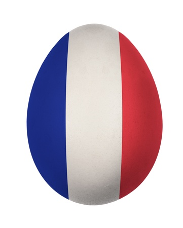 Colorful France flag Easter egg isolated on white background photo