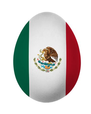 Colorful Mexico flag Easter egg isolated on white background photo