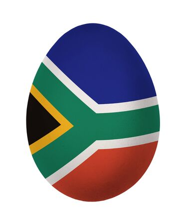 Colorful South Africa flag Easter egg isolated on white background photo
