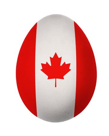 Colorful Canada flag Easter egg isolated on white background photo