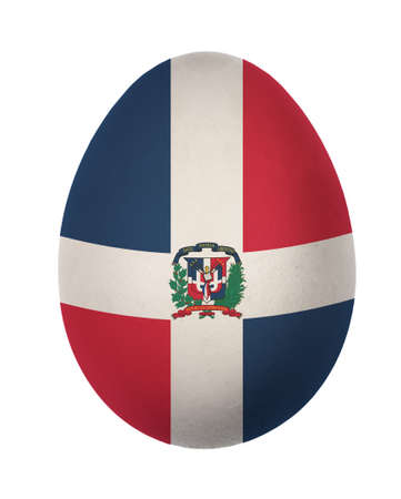 Colorful Dominican  flag Easter egg isolated on white background photo