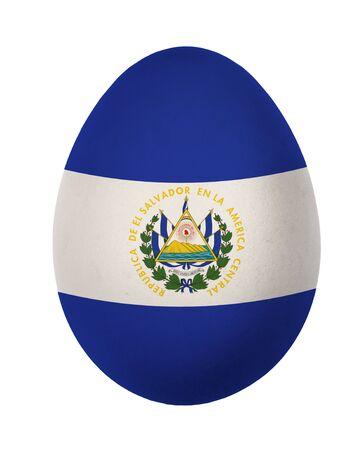 bandera de el salvador: Colorful El Salvador bandera de huevos de Pascua aisladas sobre fondo blanco