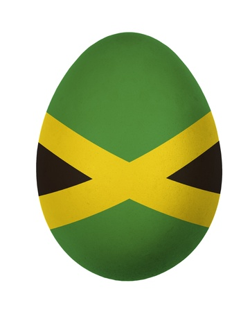 Colorful Jamaica flag Easter egg isolated on white background photo