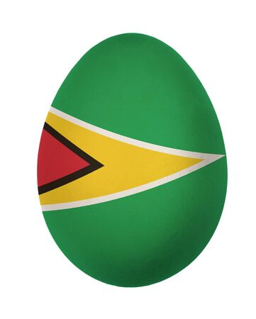 Colorful Guyana flag Easter egg isolated on white background photo