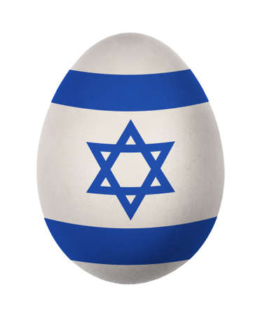 middle easter: Colorful Israel flag Easter egg isolated on white background