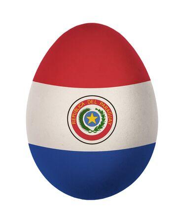 bandera de paraguay: Paraguay bandera colorida del huevo de Pascua aislado sobre fondo blanco Foto de archivo