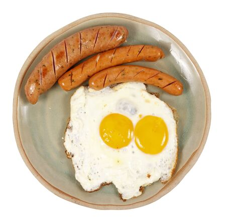 veal sausage: Egg and veal sausage breakfast