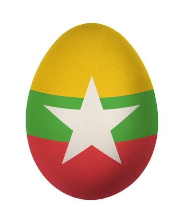 Colorful Myanmar flag Easter egg isolated on white background photo
