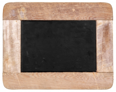 Vintage chalk black board isolated on white background  photo