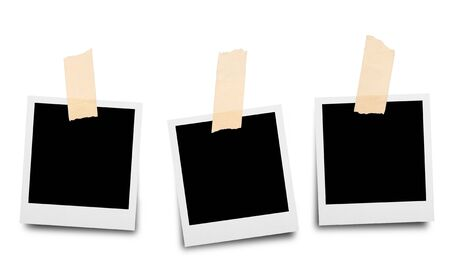 Sticky tape on paper photo frame isolated on white background photo