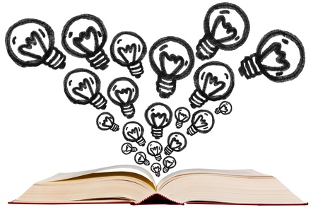 Open text book with idea bulb pen drawing icon on white background photo