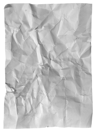 Crumpled  paper sheet isolated on white background photo