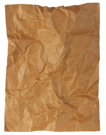Crumpled  brown paper paper sheet isolated on white background photo