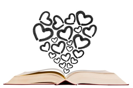 Open text book with heart shape icon pen drawing icon on white background photo