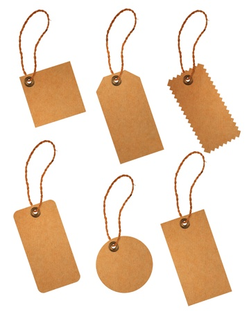 brown paper price tags isolated on white background photo