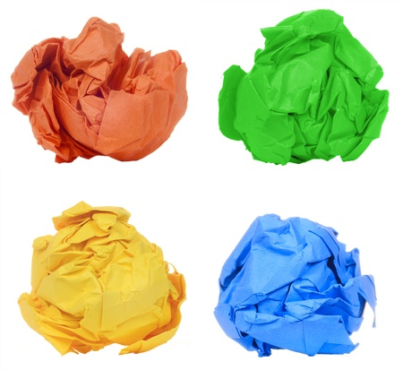 Crumpled colorful paper ball isolated on white background photo