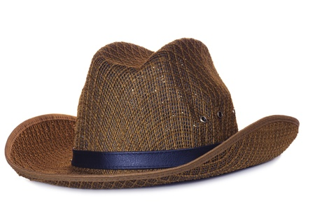 western attire: brown cowboy hat isolated on white background