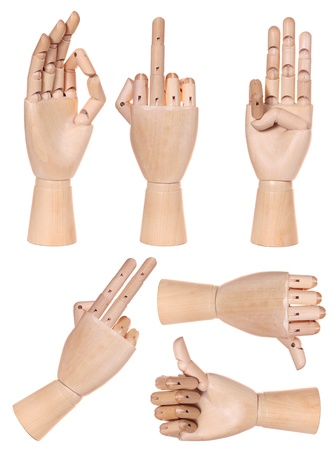 Collection of dummy wooden human hand gesture isolated on white background Stock Photo - 19534056