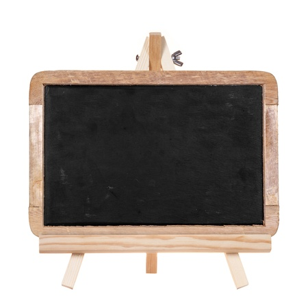 Blackboard on wooden stand isolated on white background photo