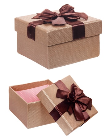 Brown gift cardboard present box isolated on white background
