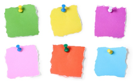 paper pin: Colorful note paper pin on white background