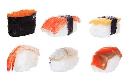 Japanese nigiri sushi isolated on white background photo