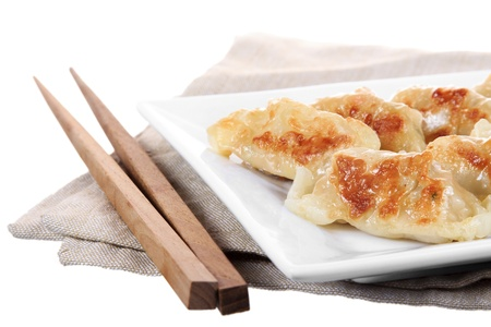 gyoza: Japanese gyoza dish isolated on white background Stock Photo