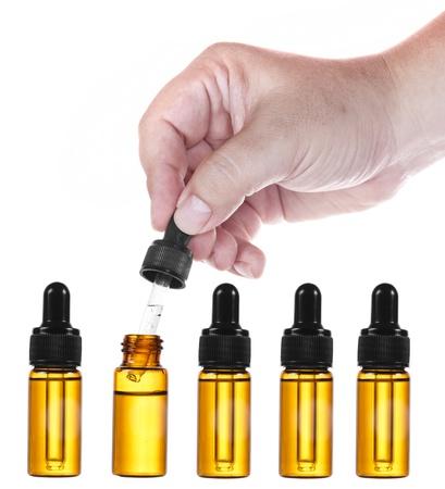Medische glazen pipet op witte achtergrond Stockfoto
