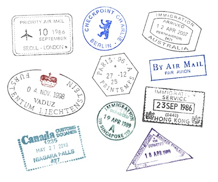 Various countries passport stamps on white background