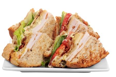 Chicken club sandwich isolated on white background