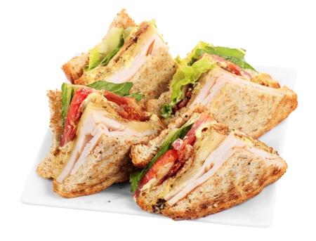 Chicken club sandwich isolated on white background 版權商用圖片 - 21175300