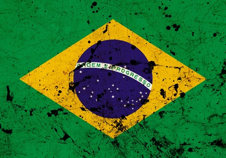 Brazil dirty old grunge flag  photo