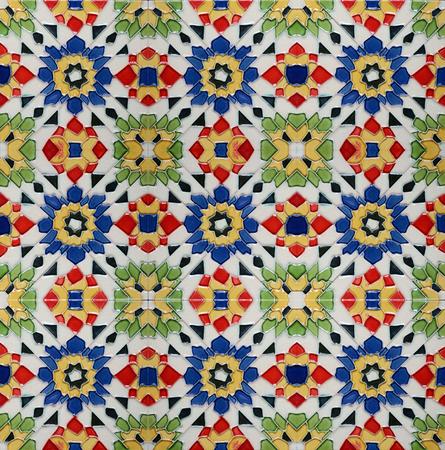 Portuguese Spanich Moroccan style vintage ceramic tile pattern photo
