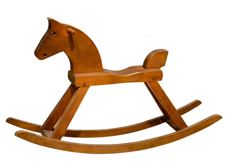 Brown rocking seesaw horse isolated on white background Stock Photo
