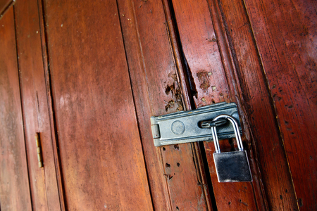 Locked wooden door with key chain background  photo