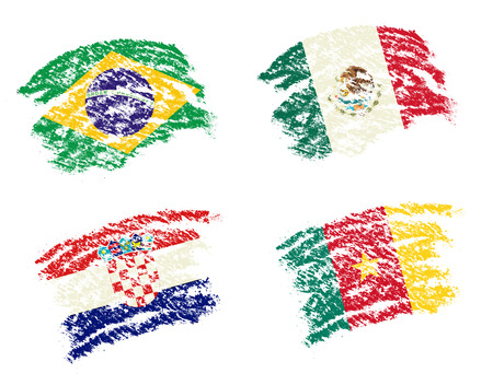 cameroon: Crayon draw of group A worldcup soccer 2014 country flags, Brazil, Mexico,Croatia, Cameroon Stock Photo