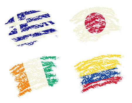 Crayon draw of group C worldcup soccer 2014 country flags, Greece,Japan,Ivory Coast,Columbia photo