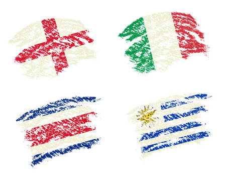 ayon draw of group D worldcup soccer 2014 country flags, England,Italy,Costa Rica,Uruguay photo
