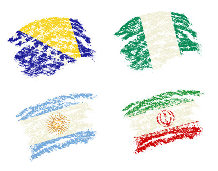 country nigeria: Crayon draw of group F  worldcup soccer 2014 country flags, Bosnia,Argentina,Iran,Nigeria Stock Photo