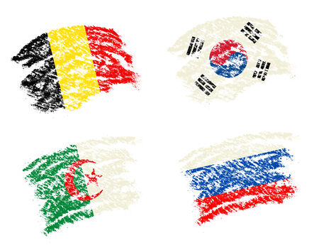 Crayon draw of group H worldcup soccer 2014 country flags, South Korea,Belgium,Algeria,Russia photo