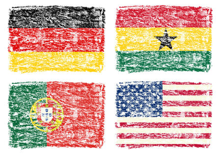 crayon drawing: Crayon draw of group G worldcup soccer 2014 country flags, Germany,  Portugal,  Ghana,   USA Stock Photo