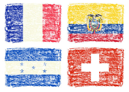 crayon drawing: Crayon draw of group E worldcup soccer 2014 country flags, Switzerland,Ecuador,Honduras,France