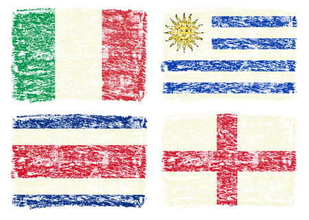Crayon draw of group D worldcup soccer 2014 country flags, England,Italy,Costa Rica,Uruguay photo